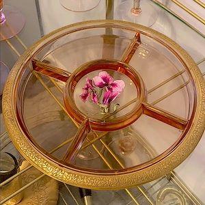 Vintage Pink Glass Serving Dish